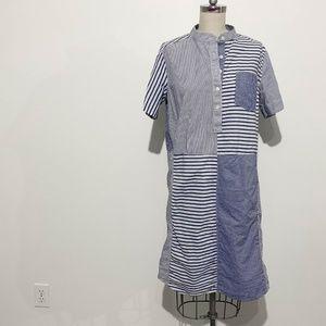 Lands End Patchwork Dress - Blue